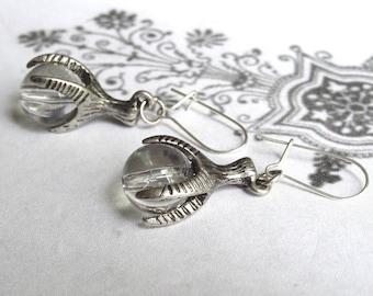 Bird Claw Earrings Talon Clutching Glass Ball Small Bird Claw Miniature 3D Dangle Earrings PeculiarCollective Jewelry