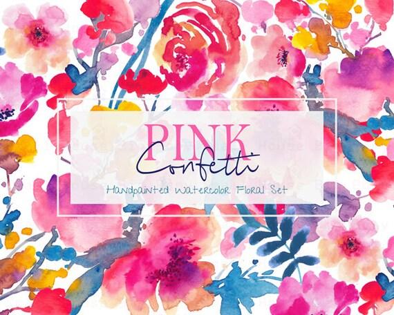 Digital Clipart- Watercolor Flower Clipart, peonies Clip art, Floral Bouquet Clipart, wedding flowers clip art- Pink Confetti Elements