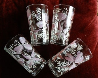 Four Vintage Painted Lilac and White Floral Glasses / Tumblers c1960