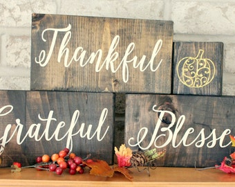 Set of 3 Blocks - Wood Sign Home Decor - Thanksgiving - Fall - Thankful-Grateful-Blessed- Wooden Sign With Saying - Wooden Signs with Quotes