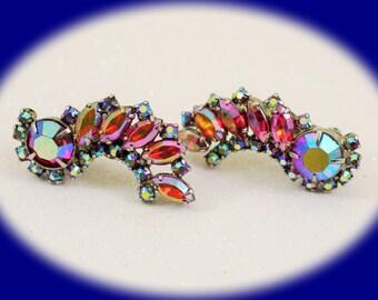 Vintage Crytal Earrings Clip On Aurora Borealis Vintage Clip Earrings Jewelry