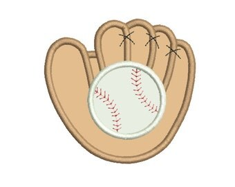 Baseball Glove and Ball Applique 4x4 5x7 - Embroidery Machine Design