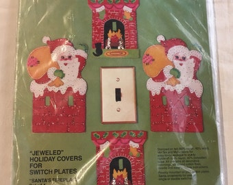 Bucilla Christmas needlepoint Santa switch plate holiday covers kit