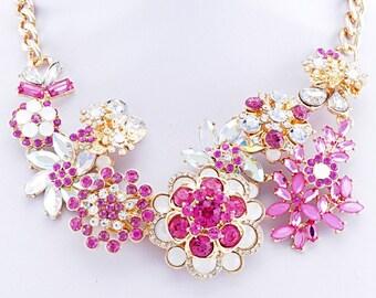 Flower Sparkle Burst Statement Necklace