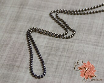 Oxidized Silver Ball Chain, Sterling Silver 3mm Bead Chain, Rustic Necklace, Finished Necklace