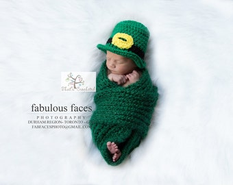 Newborn leprechaun hat- Newborn photography prop, newborn boy, newborn girl, crochet newborn hat, St. Patrick's day hat