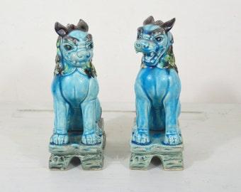 Pair of blue Foo dog
