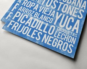 Cuban Food Poster - Blue - Word Art - Food Art Print