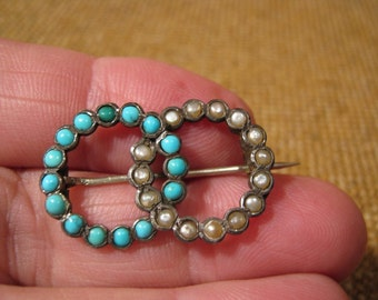 Delightful Antique Victorian Silver Pearl Turquoise Two Rings Brooch.