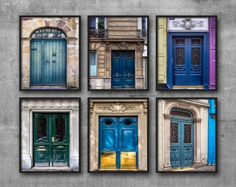 Blue Doors Photo Set, Six Paris Doors Prints, Blue Pictures, Turquoise, Green, 6 Piece Collection, Hallway Wall Art, French Style Home Decor