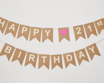 21st Birthday Banner Pink Heart Bunting Party Decorations Girls Twenty First Happy Birthday