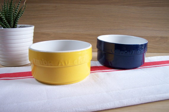 2 ramequins fromage mont d 39 or bleu et jaune plat de. Black Bedroom Furniture Sets. Home Design Ideas