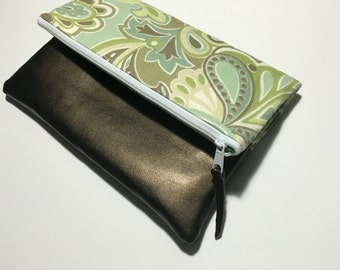 Green and Blue Paisley Fold Over Clutch, Clutch Purse, Vinyl Fold Over Clutch