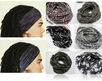 Mens Headband Stripes Headband Dreadband Men Dreadlock Wrap Dreadlock Accessories Men Patterned Hair Band Wide Men Yoga Hair Wrap Head Scarf