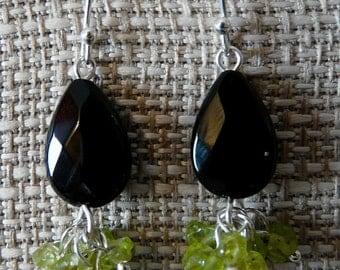 Black Onyx and Peridot Earrings