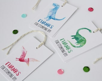 Dinosaur Tags. Favor Tags. Dinosaur Theme. Watercolor. Custom. Paper Goods. Party Supplies. Thank You Tags. Birthday Party. Fun. Colorful