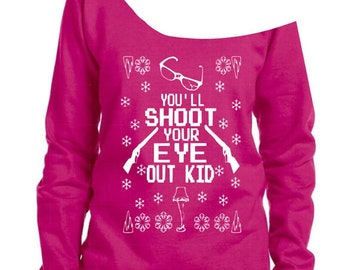 Ugly christmas sweater.christmas story. Youll shoot your eye out kid.