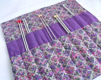 knitting needle holder, knitting needle roll, needle storage, knitting organizer, purple floral cotton fabric