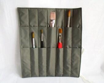 "paint brush roll, brush case, paint brush holder, travel brush pouch, gift idea, 13"" x 11.5"", waterproof fabric"