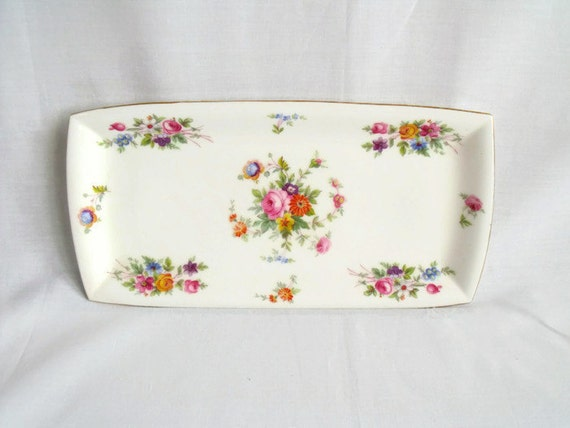 Minton Marlow sandwich plate, bone china serving plate, oblong nibbles plate, mint condition