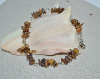 Ankle Bracelet Tigers Eye Chips, Tigers Eye Chip Anklet, Semi Precious Stone Anklet, Tigers Eye Foot Jewelry