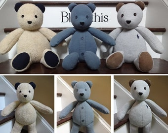 "18"" Memory Bear / Keepsake Bear from Adult Clothes **PLEASE Read the Listing Description for Detailed Information Needed for Ordering**"