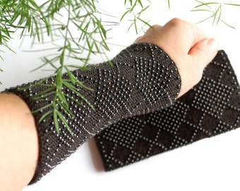 Beaded Wrist Warmers Black - Unique fingerless gloves - Hand knitted merino wool fingerless gloves with glass beads