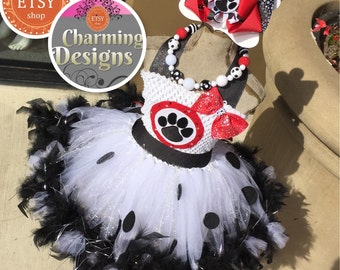 3 piece - Dalmatian Marshall TuTu dress Over the TOP with OTT Bow & Necklace - 101 Dalmations Costume - 1 - 8 yrs by Charming Designs