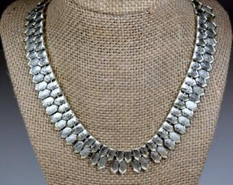 Vintage Pegasus Coro Silvertone Coro Choker Necklace Thick Chunky Chain Choker Signed Coro Statement Necklace Choker