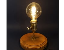 Lamp vintage cherry wood with brass and big filament bulb socket.