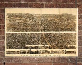 Vintage Syracuse Print, Aerial Syracuse Photo, Vintage Syracuse NY Pic, Old Syracuse Photo, Syracuse New York Poster, 1868