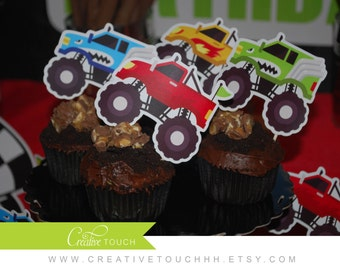 Monster Truck Cupcake Toppers, Monster Truck, Truck, Monster Jam, Cars, Off Roading, Lifted Truck, Monster Truck Cake Topper, Decoration