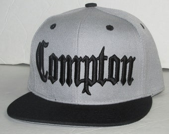 New Compton 3 D embroidered gray/black flat bill snap-back