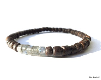 Dark Brown Coconut Labradorite Bracelet