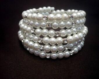 white glass pearl-rhinestone wrap bracelet, rhinestone bracelet, white pearl memory wire bracelet, pearl beaded bracelet