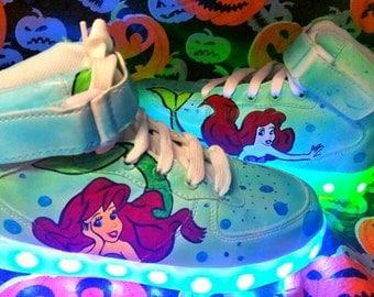 Mermaid. Ariel. Magic shoes .  Light up trainers. Light up kids shoes. Handpainted. Unique