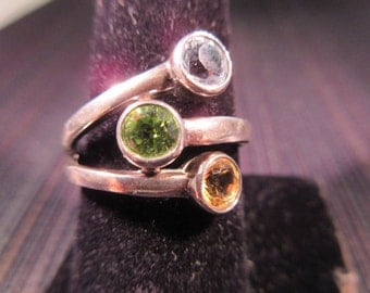 Cool Retro Sterling Silver Multi Gemstone Ring - 10