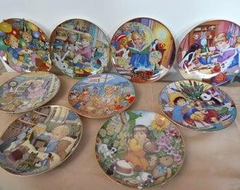 Vintage Set of 9 Carol Lawson Porcelain Plates Made in 1981 ---1990