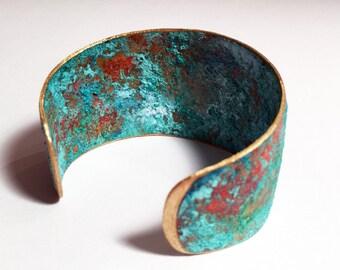 Turquoise Patina Cuff/ Patina Cuff/ Patina Bracelet/ Verdigris Cuff Bracelet/ Boho Chic/ Statement Maker/ Rustic Patina Cuff