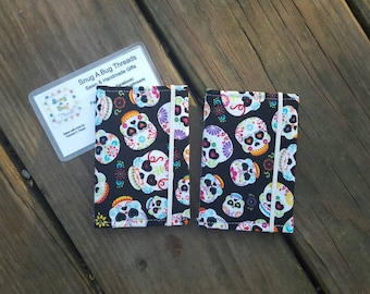 Sugar Skull Fabric Business Card Holder, cash and credit card holder, gift card holder
