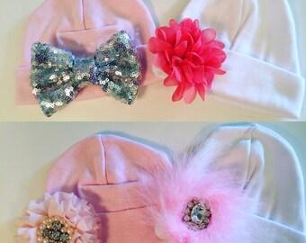 Infant Nursury Beanies, Newborn Beanie, infant Couture Beanie, Nursury Hat, Newborn Hat