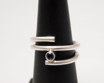 Modern Sterling Silver Wedding Ring/Ring/Stackable Ring with Purple Blue Lolite 3mm