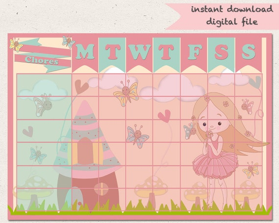 Chore Chart-Fairy-Reward Chart-Girls-Jobs-Fairy Garden-Routine