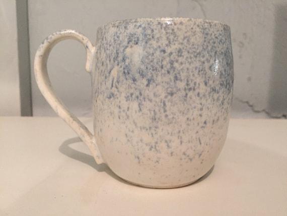 ceramic mug - coffee cup - white with blue spray - half price!