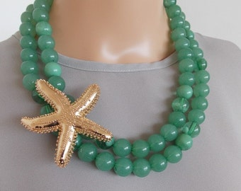 Chunky Green Beaded Necklace with Gold  Starfish Charm