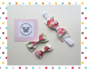 Floral hairbow gift set, floral hairbows, girls accessories, floral makes, gifts for her, girlie hairbows, hair clips