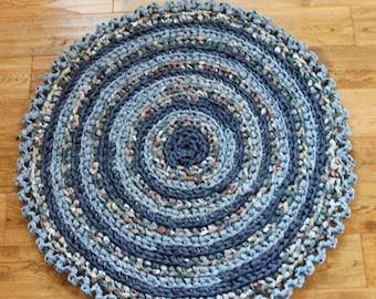 "Rag Rug, Blue 33"" Crocheted Round Rag Rug, Beach Home Decor, Cottage Chic Decor, Shabby Chic, Crochet Rag Rug, Blue Rag Rug"