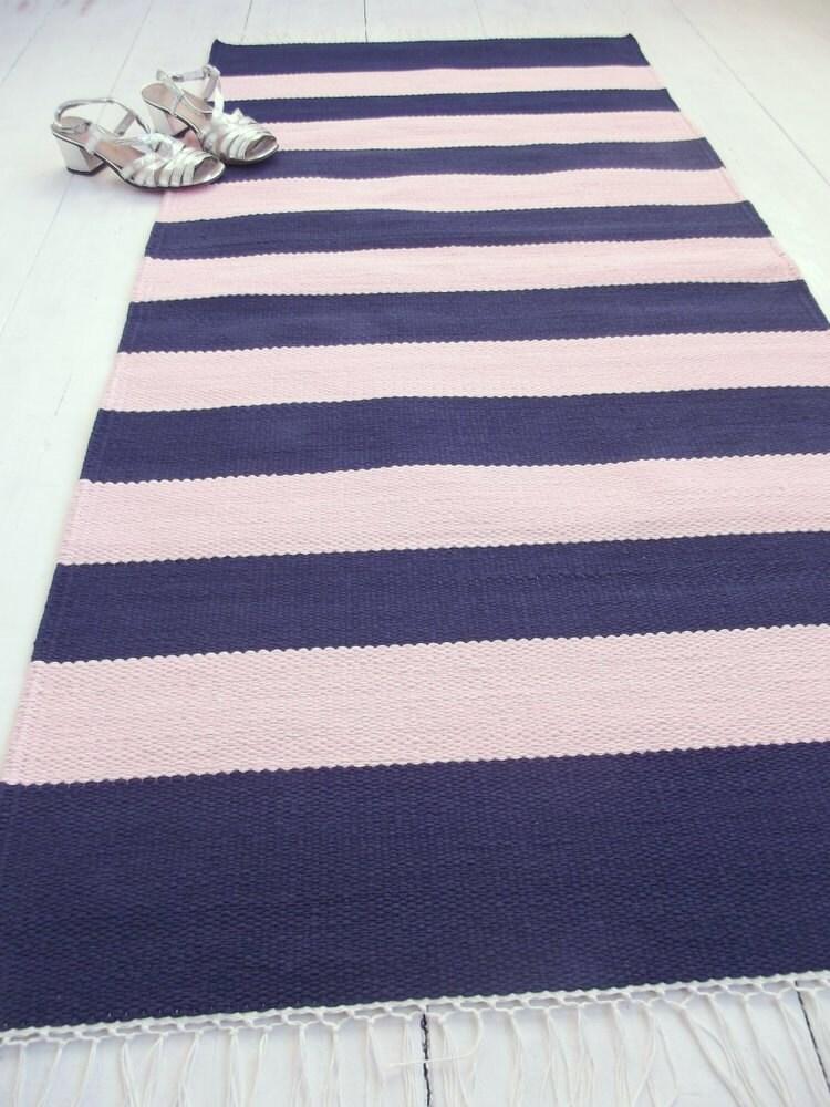 navy and pale pink rug cotton rug baby girl nursery rug. Black Bedroom Furniture Sets. Home Design Ideas