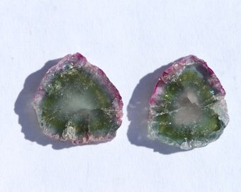 Watermelon Tourmaline Slice, One Piece pink and green, natural crystal edges, Approximately 16.5 x 13.5 mm, C2616