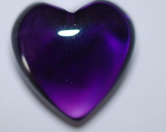 Deep Purple Natural Amethyst Puffy Stone Heart, Clean, excellent polish,1r 10mm, 14mm